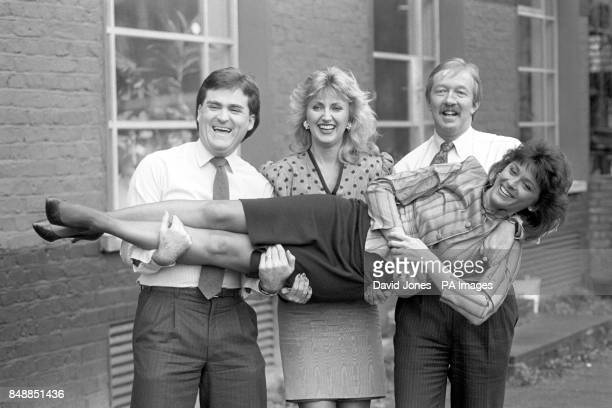 Presenter Kathy Tayler joins the lineup of TVam presenters from left Richard Keys Jayne Irving and Mike Morris
