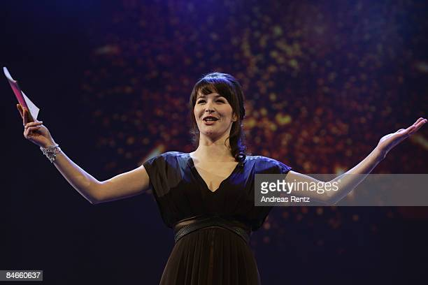 TV presenter Katrin Bauernfeind attends the opening ceremony as part of the 59th Berlin Film Festival at the Berlinale Palast on February 5 2009 in...