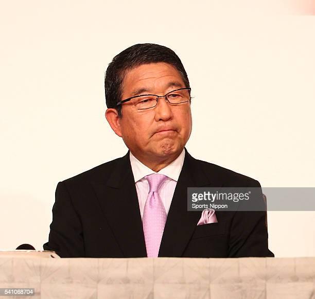 TV presenter Kazuo Tokumitsu attends the press conference ahead of the Hibari Misora memorial concert on October 21 2011 in Tokyo Japan