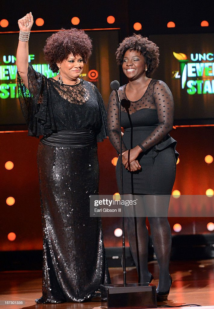 Presenter Kim Coles and honoree Delrisha White speak onstage during UNCF's 33rd annual An Evening Of Stars held at Pasadena Civic Auditorium on December 1, 2012 in Pasadena, California.