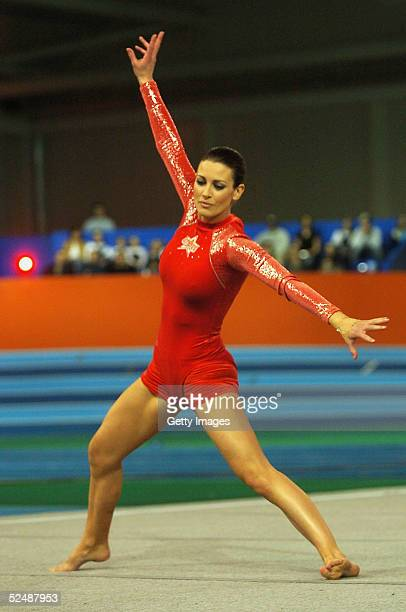 TV presenter Kirsty Gallacher of the girls wins the floor gymnastics event on day four of the new series of the reality TV show The Games at the...