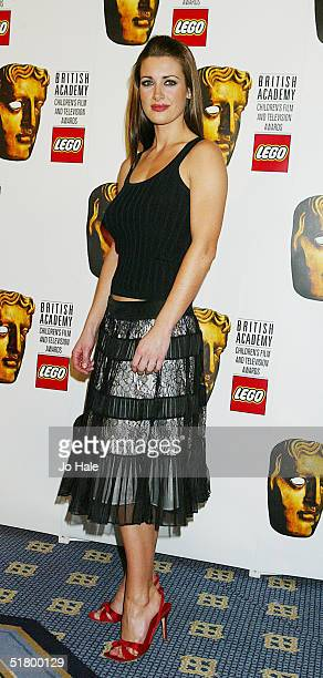TV presenter Kirsty Gallacher poses at the boards during the 'British Academy Children's Film and Television Awards' on November 28 2004 at the...