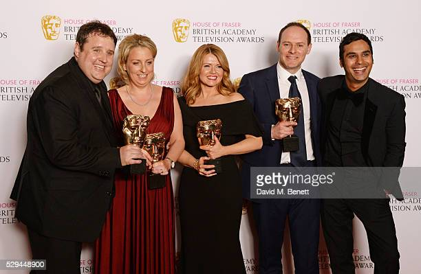 Presenter Kunal Nayyar poses with Peter Kay Gill Isles Sian Gibson and Paul Coleman winners of the Best Scripted Comedy award for 'Peter Kay's Car...