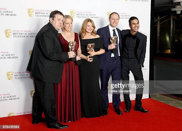 Presenter Kunal Nayyar with Peter Kay Gill Isles Sian Gibson and Paul Coleman winners of Best Scripted Comedy for 'Peter Kay's Car Share' pose in the...