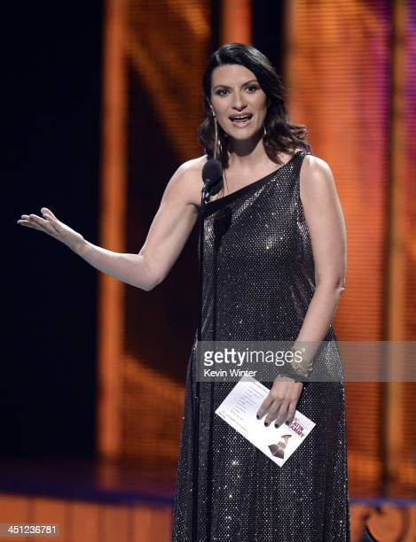 Presenter Laura Pausini speaks onstage during The 14th Annual Latin GRAMMY Awards at the Mandalay Bay Events Center on November 21 2013 in Las Vegas...