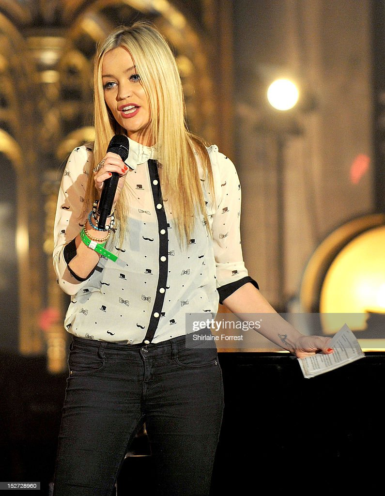 Presenter <a gi-track='captionPersonalityLinkClicked' href=/galleries/search?phrase=Laura+Whitmore&family=editorial&specificpeople=5599316 ng-click='$event.stopPropagation()'>Laura Whitmore</a> introduces Alicia Keys performing as part of MTV Crashes... at Manchester Cathedral on September 24, 2012 in Manchester, England.
