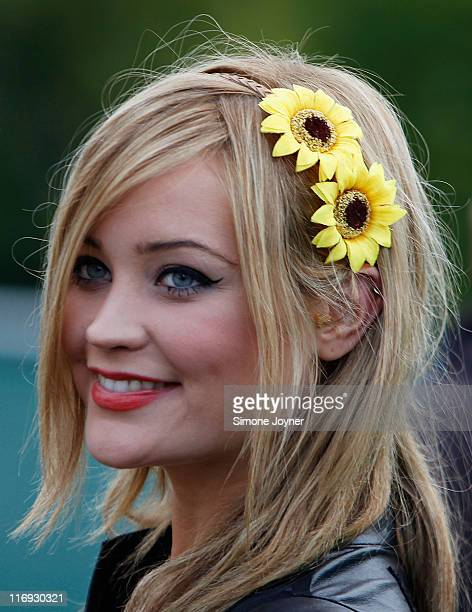 Presenter Laura Whitmore is seen backstage during day one of Feis Festival 2011 at Finsbury Park on June 18 2011 in London United Kingdom