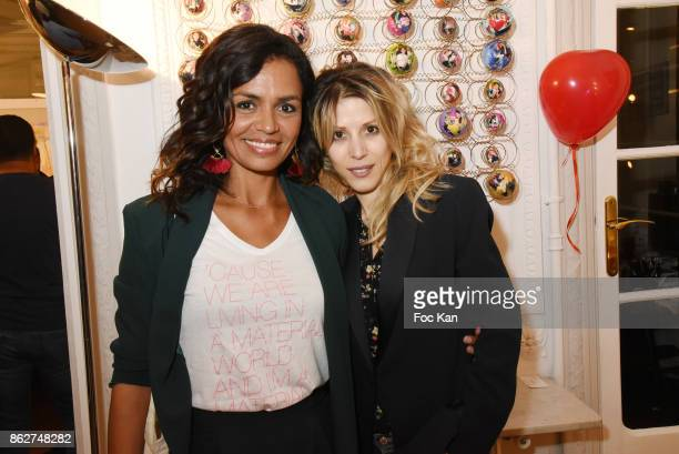 R TV presenter Laurence Roustandjee and Tristane Banon attend the 'Love EtcÉ' Caroline Faindt Exhibition Preview at '28 Octobre Office' on October 17...