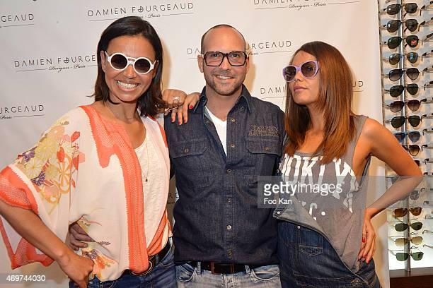 TV presenter Laurence Roustandjee eyeglasses designer Damien Fourgeaud and TV presenter Karine Arsene attend the 'Damien Fourgeaud' Eyeglasses Launch...