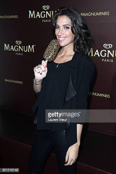 Presenter Laurie Cholewa attends the Magnum Paris Concept Store Opening on April 14 2016 in Paris France