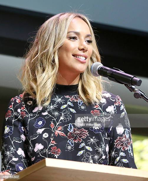 Presenter Leona Lewis speaks onstage during the 4th Annual Women Making History Brunch presented by the National Women's History Museum and Glamour...