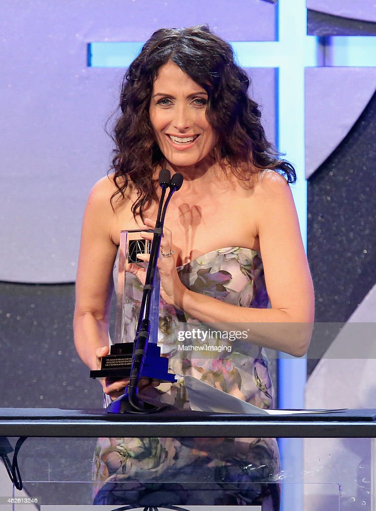 Presenter Lisa Edelstein speaks onstage during the 19th Annual Art Directors Guild Excellence In Production Design Awards at The Beverly Hilton Hotel...