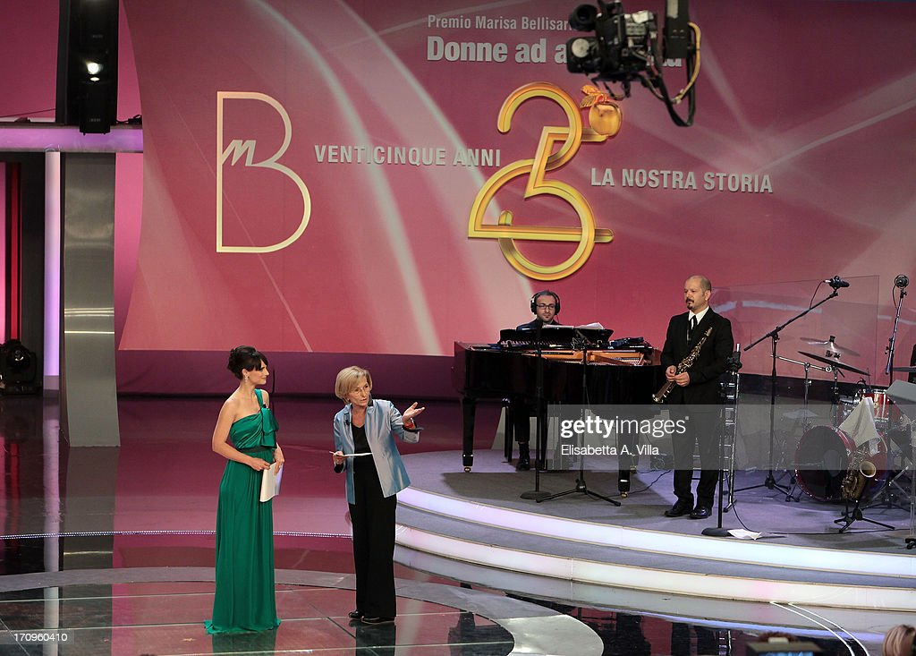 TV presenter Lorena Bianchetti and Foreign Minister Emma Bonino attend Premio Belisario 2013 at Dear RAI studios on June 20, 2013 in Rome, Italy.