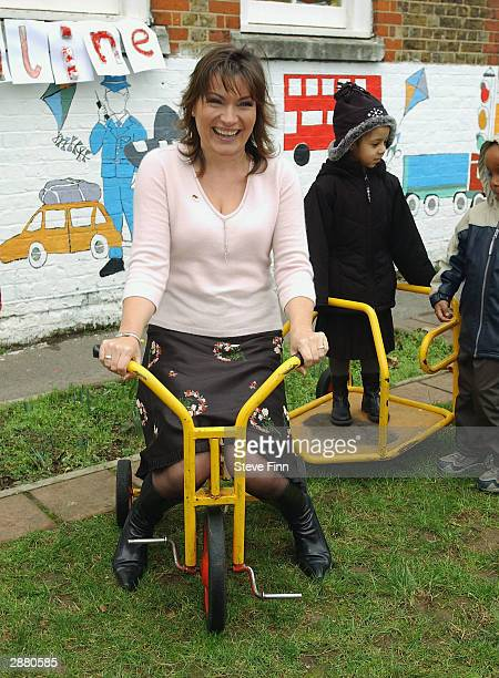 Presenter Lorraine Kelly launches Childline's 2004 Pedal Push in Battersea on January 19 2004 in London Nursery school children were presented with...