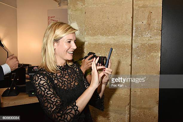 TV presenter Louise Ekland attends the 'Charal' 30th Anniversary Pop Up Store Opening Party at Rue des Halles on September 14 2016 in Paris France
