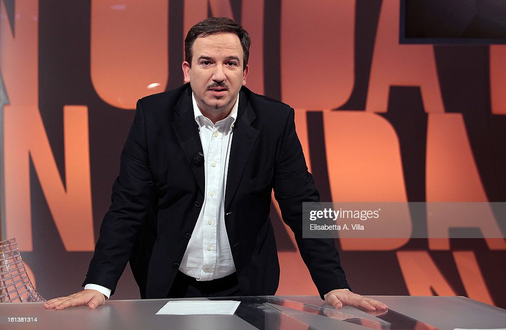 TV presenter <a gi-track='captionPersonalityLinkClicked' href=/galleries/search?phrase=Luca+Telese&family=editorial&specificpeople=7072224 ng-click='$event.stopPropagation()'>Luca Telese</a> poses on set of Italian TV talk-show 'In Onda' on February 10, 2013 in Rome, Italy.