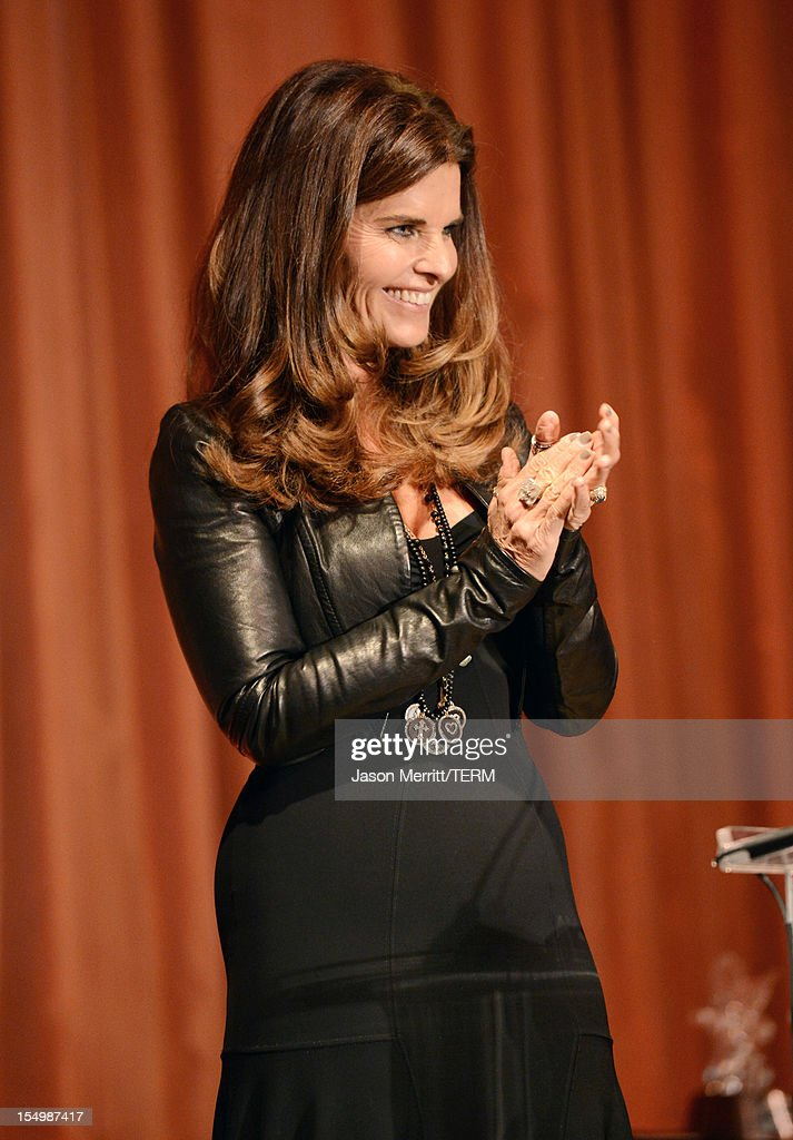 Presenter Maria Shriver speaks onstage at the 2012 Courage in Journalism Awards hosted by the International Women's Media Foundation held at the Beverly Hills Hotel on October 29, 2012 in Beverly Hills, California.