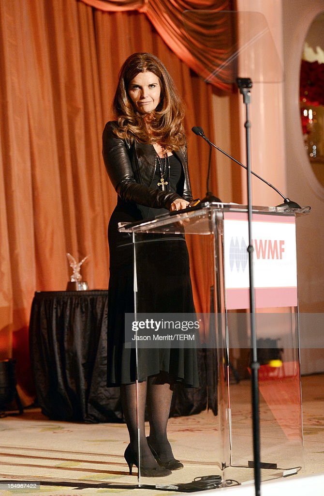 Presenter <a gi-track='captionPersonalityLinkClicked' href=/galleries/search?phrase=Maria+Shriver&family=editorial&specificpeople=179436 ng-click='$event.stopPropagation()'>Maria Shriver</a> speaks onstage at the 2012 Courage in Journalism Awards hosted by the International Women's Media Foundation held at the Beverly Hills Hotel on October 29, 2012 in Beverly Hills, California.