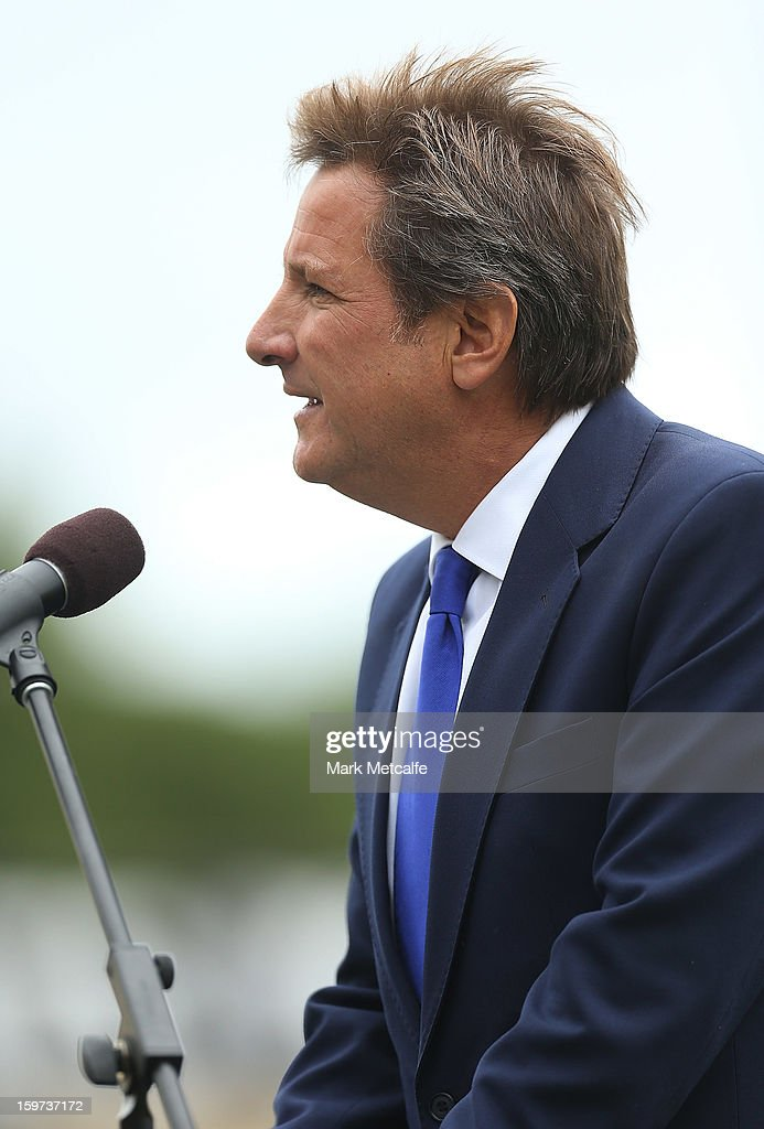 TV Presenter Mark Nicholas speaks on stage during the Tony Greig memorial service at Sydney Cricket Ground on January 20, 2013 in Sydney, Australia.