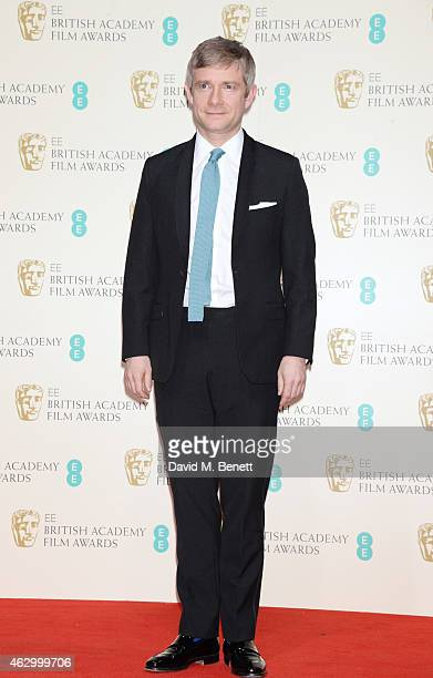 Presenter Martin Freeman poses in the winners room at the EE British Academy Film Awards at The Royal Opera House on February 8 2015 in London England