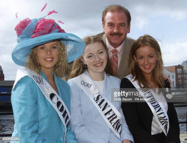 RTE presenter Marty Whelan with Olivia Walsh of Cork Sorcha Byrne of San Francisco and Cameo McMillan of Southern California at the launch of the...
