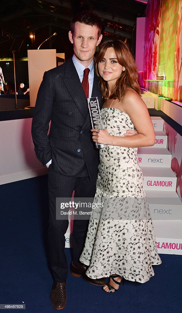 Presenter <a gi-track='captionPersonalityLinkClicked' href=/galleries/search?phrase=Matt+Smith+-+Actor&family=editorial&specificpeople=6877373 ng-click='$event.stopPropagation()'>Matt Smith</a> (L) and UK TV Actress winner Jenna Coleman poses at the Glamour Women of the Year Awards in Berkeley Square Gardens on June 3, 2014 in London, England.