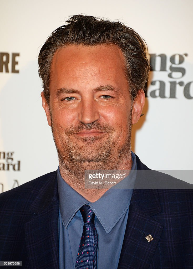Presenter Matthew Perry poses in front of the Winners Boards at the London Evening Standard British Film Awards at Television Centre on February 7...