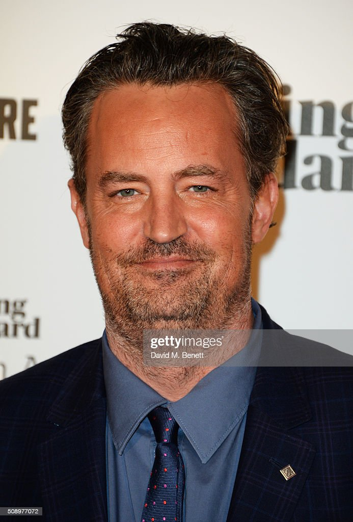 Presenter <a gi-track='captionPersonalityLinkClicked' href=/galleries/search?phrase=Matthew+Perry&family=editorial&specificpeople=202851 ng-click='$event.stopPropagation()'>Matthew Perry</a> poses in front of the Winners Boards at the London Evening Standard British Film Awards at Television Centre on February 7, 2016 in London, England.
