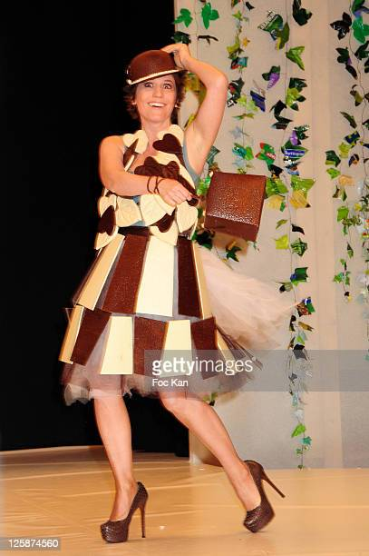 TV presenter Maureen Dor dressed by Stephane Bonnat for Max Havelaar and LeAF Generation attend the Salon Du Chocolat 2010 Opening Night at the Parc...