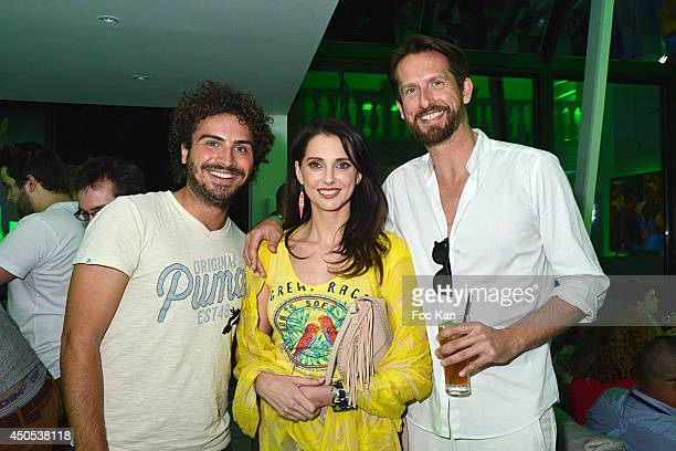 TV presenter Maxime Musqua actress Frederique Bel and PR Sam Bobino attend the 'Heineken Subroom' Launch Party at 126 Rue Alesia on June 12 2014 in...