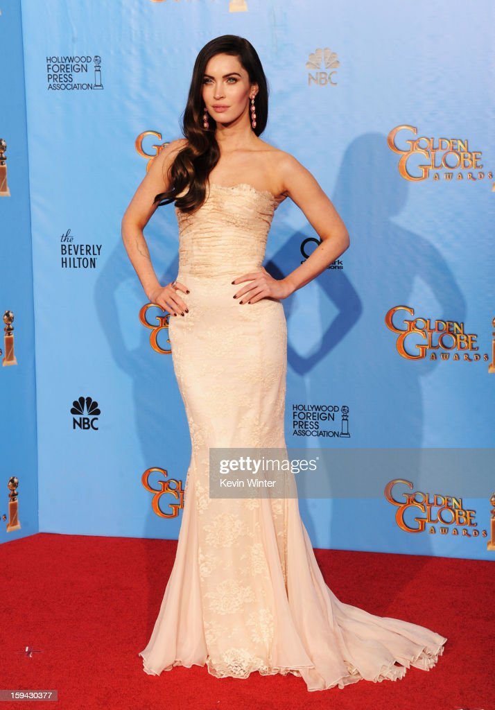 Presenter Megan Fox poses in the press room during the 70th Annual Golden Globe Awards held at The Beverly Hilton Hotel on January 13, 2013 in Beverly Hills, California.