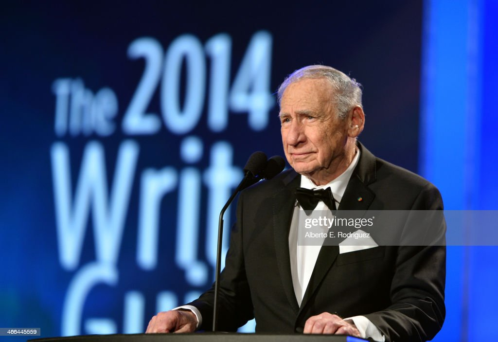 Presenter Mel Brooks speaks onstage during the 2014 Writers Guild Awards LA Ceremony at JW Marriott at LA Live on February 1 2014 in Los Angeles...