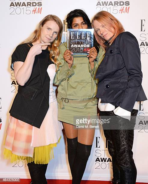 Presenter MIA poses with Katie Hillier and Luella Bartley winners of the Contemporary Brand award in the Winners Room at the Elle Style Awards 2015...