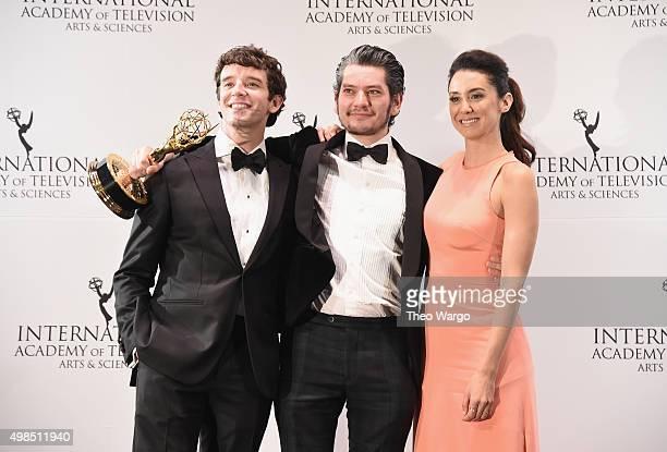Presenter Michael Urie Award Winner for Best Performance By An Actor Maarten Heijmans and Presenter Mozhan Marno duirng 43rd International Emmy...