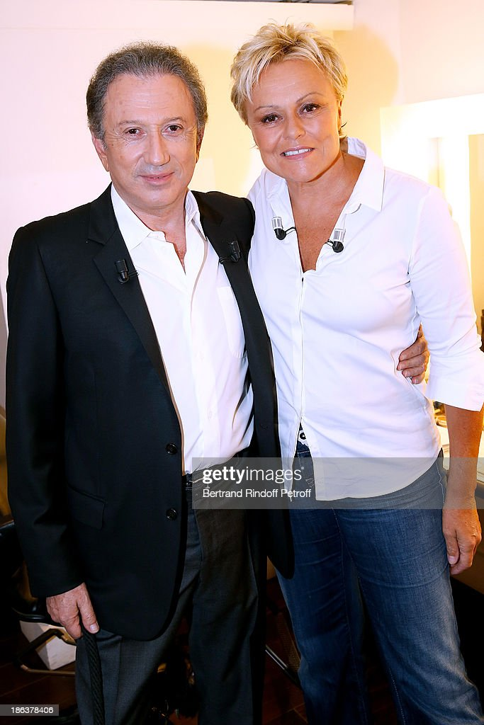 TV presenter Michel Drucker and main Guest of the show humorist Muriel Robin attend the 'Vivement Dimanche' French TV Show at Pavillon Gabriel on...