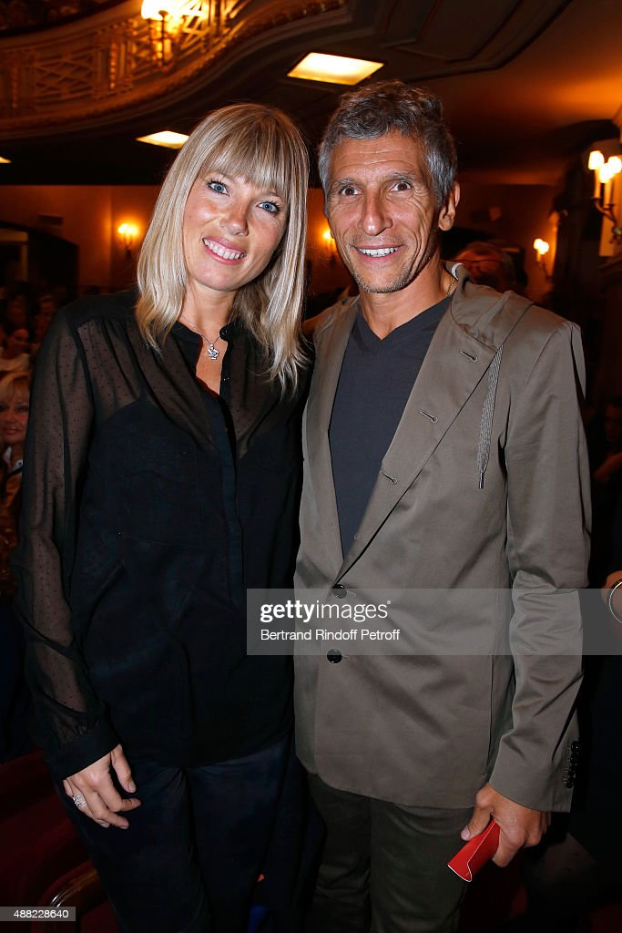 TV Presenter <a gi-track='captionPersonalityLinkClicked' href=/galleries/search?phrase=Nagui&family=editorial&specificpeople=765035 ng-click='$event.stopPropagation()'>Nagui</a> with his wife actress Melanie Page attend 'Le Mensonge' : Theater Play. Held at Theatre Edouard VII on September 14, 2015 in Paris, France.