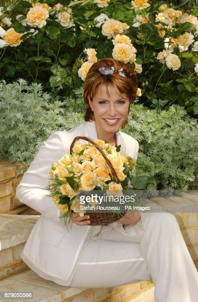 TV presenter Natasha Kaplinsky at the Chelsea Flower Show with the new Rosa Salvation bred especially for the Salvation Army Around 600 exhibitors...