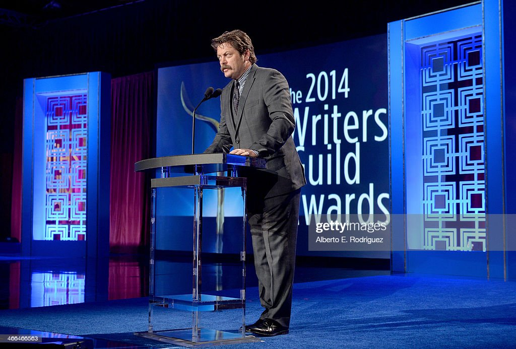 Presenter Nick Offerman speaks onstage during the 2014 Writers Guild Awards LA Ceremony at JW Marriott at LA Live on February 1 2014 in Los Angeles...