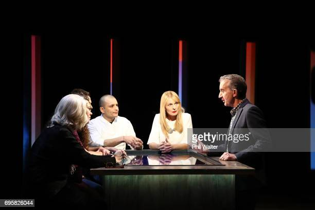 Presenter Nigel Latta speaks with Futurists Derek Handley Wendy McGuinness Sacha McMeeking Shay Wright and Frances Valintine on the TVNZ set of 'What...