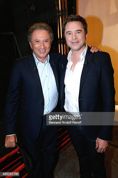 Presenter of the show Michel Drucker and actor and main guest Guillaume de Tonquedec for the TV series 'Fais pas ci fais pas ça' and the theater play...