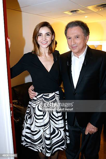 Presenter of the show Michel Drucker and Actress Clotilde Courau Princess of Savoy who presents the theater piece 'Piaf l'etre intime' attend the...