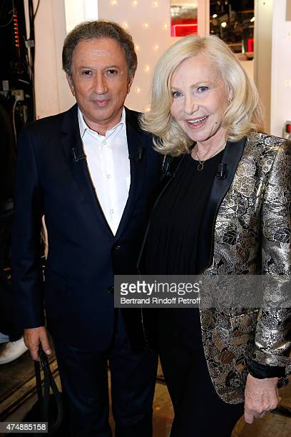 Presenter of the show Michel Drucker and Main guest of the show singer Michele Torr attend the 'Vivement Dimanche' French TV Show at Pavillon Gabriel...