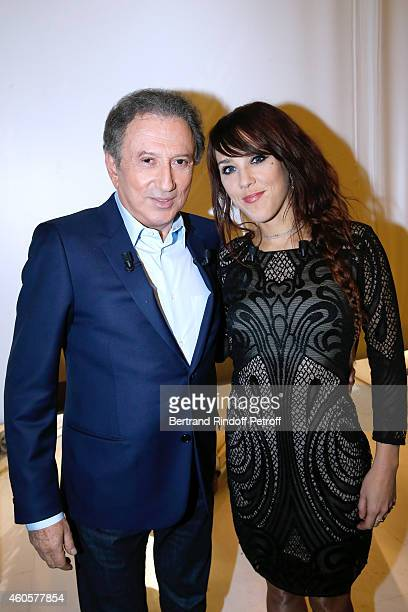 Presenter of the show Michel Drucker and Main guest of the show singer Zaz who presents her album 'Paris' attend the 'Vivement Dimanche' French TV...