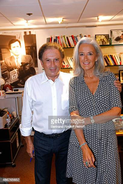 Presenter of the show Michel Drucker and Writer Tatiana de Rosnay attend the 'Vivement Dimanche' French TV Show Held at Pavillon Gabriel on September...