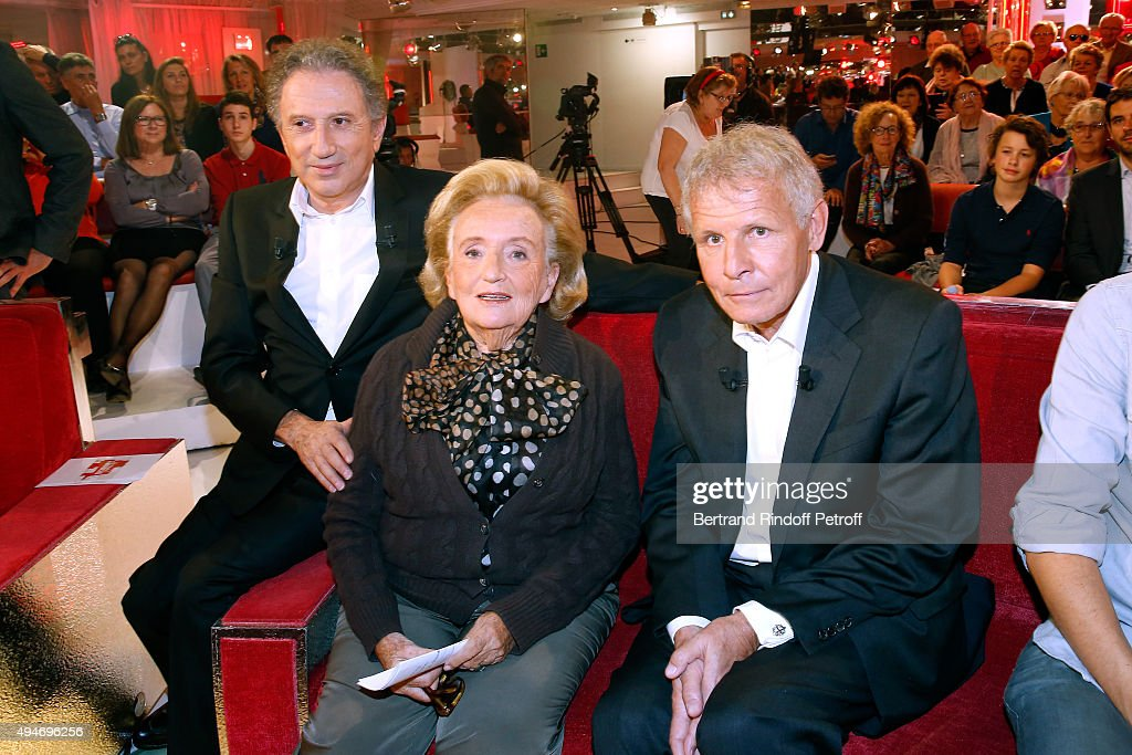 Presenter of the Show Michel Drucker, Bernadette Chirac and Main Guest of the Show, Journalist Patrick Poivre d'Arvor attend the 'Vivement Dimanche' French TV Show at Pavillon Gabriel on October 28, 2015 in Paris, France.