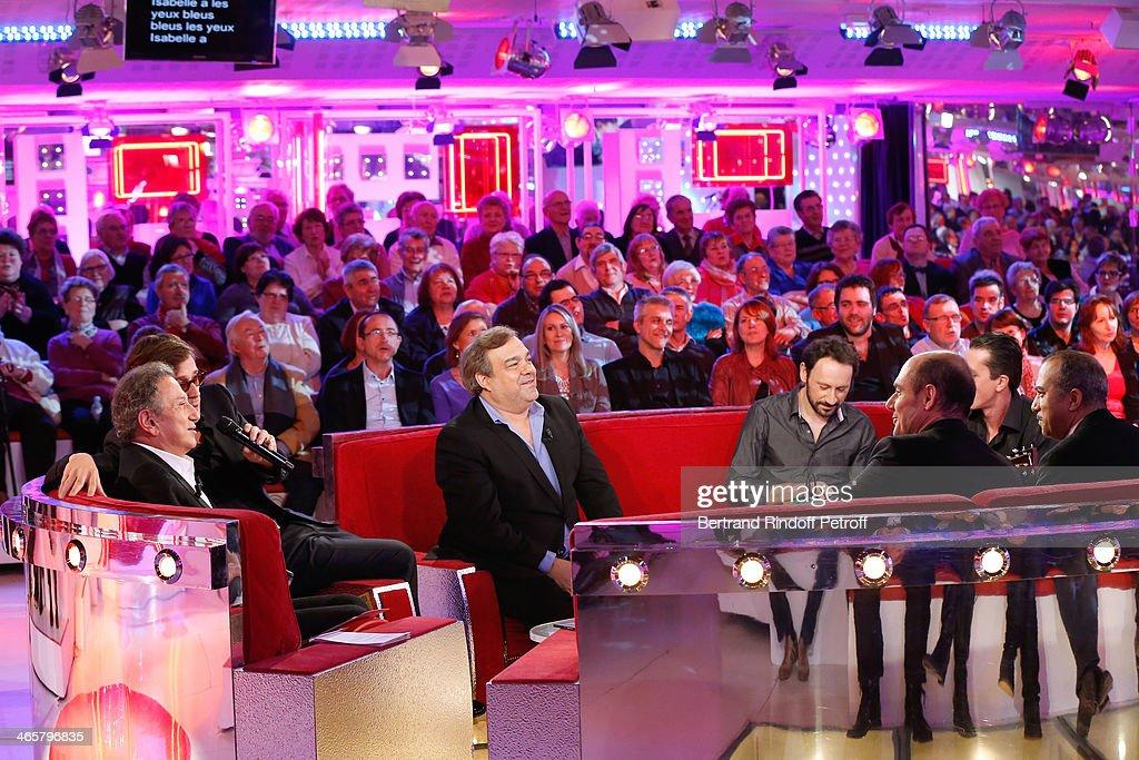 Presenter of the show Michel Drucker singer Thomas Dutronc member of 'Les Inconnus' Didier Bourdon members of 'Les Inconnus' Bernard Campan and...