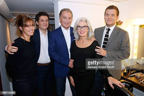 Presenter of the TV Show 'Telematin' wich celebrates its 30th Birthday William Leymergie pose with his wife Maryline their sons Sacha Gery and their...