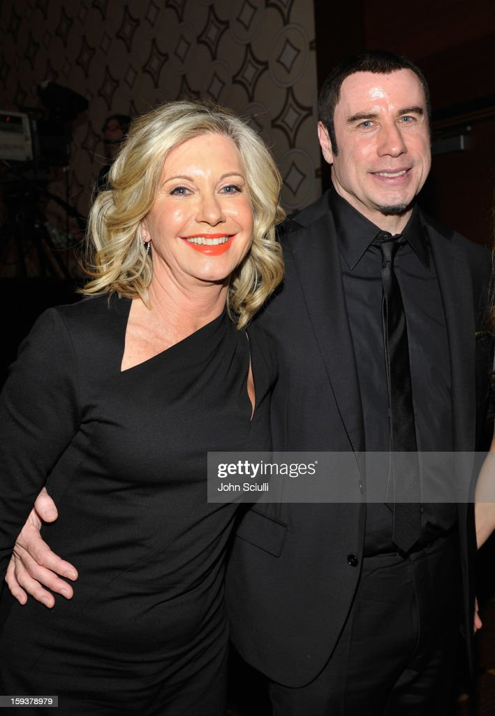 Presenter Olivia Newton-John and honoree <a gi-track='captionPersonalityLinkClicked' href=/galleries/search?phrase=John+Travolta&family=editorial&specificpeople=178204 ng-click='$event.stopPropagation()'>John Travolta</a> attend the 2013 G'Day USA Los Angeles Black Tie Gala at JW Marriott Los Angeles at L.A. LIVE on January 12, 2013 in Los Angeles, California.
