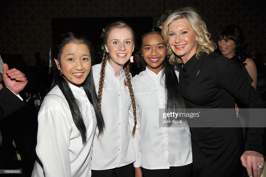 Presenter Olivia Newton-John (R) attends the 2013 G'Day USA Los Angeles Black Tie Gala at JW Marriott Los Angeles at L.A. LIVE on January 12, 2013 in Los Angeles, California.