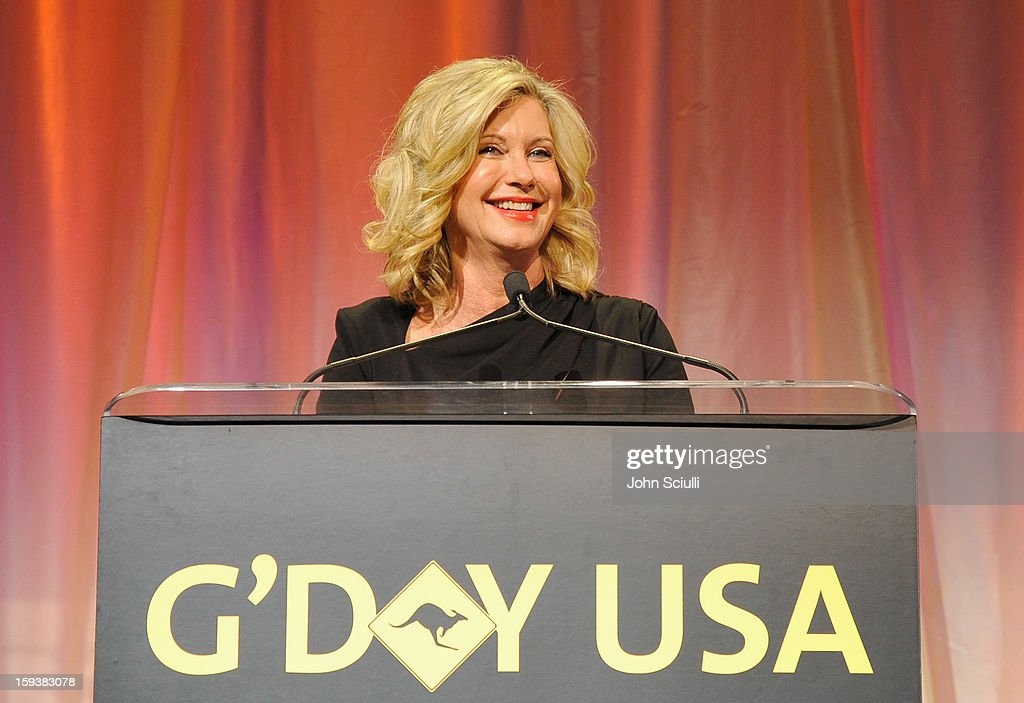 Presenter Olivia Newton-John speaks onstage during the 2013 G'Day USA Los Angeles Black Tie Gala at JW Marriott Los Angeles at L.A. LIVE on January 12, 2013 in Los Angeles, California.